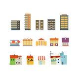 Insieme astratto dell'illustrazione delle costruzioni della città Immagini Stock Libere da Diritti