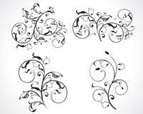 Insieme astratto di disegno floreale Immagini Stock Libere da Diritti