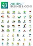 Insieme astratto di logo, raccolta delle icone geometriche moderne di affari, linea stile di scorrimento di forma illustrazione di stock