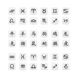 Insieme astrologico dell'icona del segno Immagini Stock