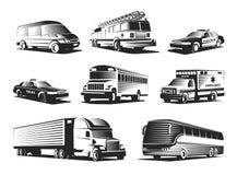 Insieme automobilistico di monocromio di trasporto illustrazione di stock