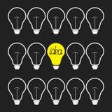 Insieme avanti/stop della lampadina Concetto di idea Progettazione piana Fotografia Stock Libera da Diritti
