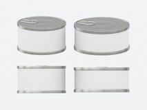Insieme in bianco bianco del barattolo di latta dell'etichetta con la linguetta di tirata, inclu del percorso di ritaglio Fotografie Stock