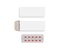 Insieme bianco in bianco del modello di progettazione della scatola della pillola, illustrazione 3d Immagine Stock