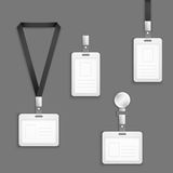 Insieme in bianco bianco di vettore delle carte di identificazione della plastica dell'identificazione Fotografia Stock