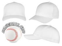 Insieme bianco del berretto da baseball Immagini Stock