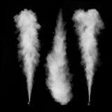 Insieme bianco del fumo isolato sul nero Immagine Stock