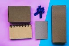 Insieme in bianco dell'articolo di cartoleria della scatola, insieme di affari Immagine Stock