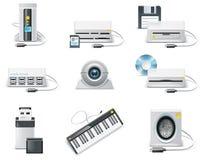 Insieme bianco dell'icona del calcolatore di vettore. Unità del USB della parte 3. illustrazione di stock