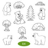 Insieme in bianco e nero degli animali ed oggetti, famiglia degli orsi royalty illustrazione gratis