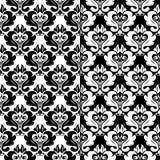 Insieme in bianco e nero dei modelli senza cuciture floreali Immagini Stock Libere da Diritti