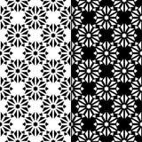Insieme in bianco e nero dei modelli senza cuciture floreali Fotografia Stock Libera da Diritti