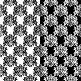Insieme in bianco e nero dei modelli senza cuciture floreali Immagine Stock