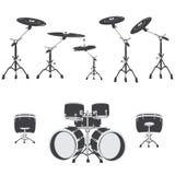 Insieme in bianco e nero del tamburo, vettore royalty illustrazione gratis