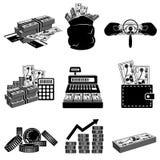 Insieme in bianco e nero dell'icona dei soldi Immagini Stock Libere da Diritti