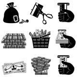 Insieme in bianco e nero dell'icona dei soldi Illustrazione Vettoriale
