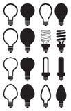 Insieme in bianco e nero dell'icona di vettore della lampadina Immagini Stock Libere da Diritti