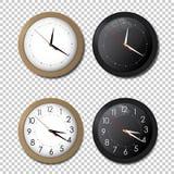Insieme bianco e nero dell'icona dell'orologio dell'ufficio della parete mostra dei cinque minuti a dodici Per il concetto del nu illustrazione vettoriale