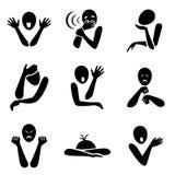 Insieme in bianco e nero dell'illustrazione di gesto Fotografia Stock Libera da Diritti