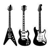 Insieme in bianco e nero della chitarra Fotografia Stock Libera da Diritti