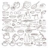 Insieme in bianco e nero della raccolta di schizzo di vettore dei prodotti alimentari, delle bevande e degli utensili della cucin Fotografia Stock Libera da Diritti