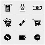 Insieme in bianco e nero delle icone Fotografie Stock Libere da Diritti