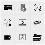 Insieme in bianco e nero delle icone Fotografia Stock