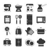 Insieme in bianco e nero delle icone della cucina Fotografia Stock Libera da Diritti