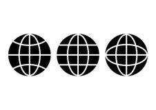 Insieme in bianco e nero delle icone della terra del globo Vettore illustrazione di stock