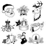 Insieme in bianco e nero delle icone di Natale Fotografie Stock