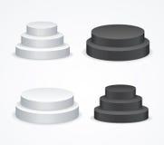 Insieme bianco e nero dello spazio in bianco realistico del modello del podio Vettore royalty illustrazione gratis