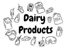 Insieme in bianco e nero di scarabocchi dei prodotti lattier-caseario Illlustration di vettore illustrazione di stock