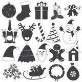 Insieme in bianco e nero di vettore delle icone di Natale Fotografie Stock