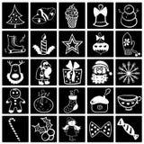 Insieme bianco nero dell'icona di Natale Immagini Stock