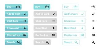 Insieme blu-chiaro dei bottoni di web con le icone illustrazione di stock