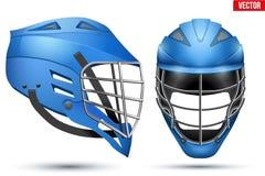 Insieme blu del casco di lacrosse Immagini Stock