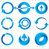 Insieme blu dell'icona dell'elemento di disegno del cerchio della freccia Fotografia Stock Libera da Diritti