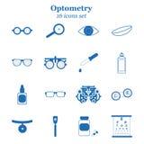 Insieme blu dell'icona di optometria di vettore L'ottico, oftalmologia, correzione della visione, prova dell'occhio, cura dell'oc Fotografia Stock