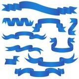 Insieme blu dell'insegna isolato sul vettore bianco Fotografia Stock
