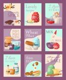 Insieme bollente dell'illustrazione di vettore delle carte Spezia aromatica, ricetta adorabile, amo cuocere o cucinare, miele più illustrazione vettoriale