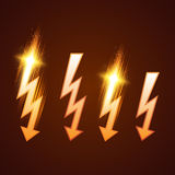Insieme brillante del fulmine Fotografie Stock