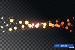 Insieme brillante di turbinio della stella della luce di natale dell'oro fotografia stock