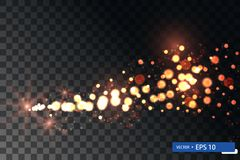 Insieme brillante di turbinio della stella della luce di natale dell'oro immagini stock