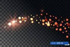 Insieme brillante di turbinio della stella della luce di natale dell'oro fotografie stock libere da diritti