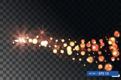 Insieme brillante di turbinio della stella della luce di natale dell'oro immagini stock libere da diritti