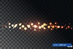 Insieme brillante di turbinio della stella della luce di natale dell'oro fotografia stock libera da diritti