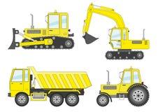 Insieme: bulldozer, escavatore, camion, trattore Fotografia Stock Libera da Diritti