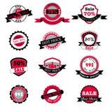 Insieme caldo di vettore delle etichette di prezzi e di vendita Fotografie Stock Libere da Diritti