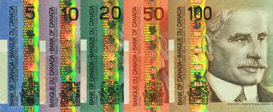 Insieme canadese corrente dei soldi di carta Fotografie Stock Libere da Diritti