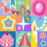 Insieme celebratorio dei bambini delle cartoline d'auguri di compleanno immagine stock libera da diritti